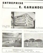 ORAN ENTREPRISE GARANDEL SONAB STE NORD-AFRICAINE BATIMENT ECOLE LANGEVIN 1953