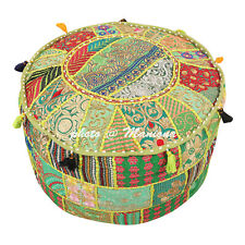 Indian Round Ethnic Patchwork 18Inch Ottoman Footstool Embroidered Pouffe Cover