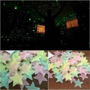 100 Pack 3D Stars Glow In The Dark Luminous Fluorescent Wall Stickers Room Decor