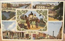 Irish Postcard DUBLIN Multiview Jaunting Car Dail Eireann GPO Ireland ETW Dennis