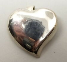 Vtg Sterling Silver Large Puffy Heart Pendant Brooch Pin Taxco Mexico Modernist