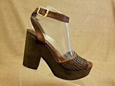 e9d265c479a Stella McCartney Women Shoes Brown Wedges Wooden Heel Platform Sandals Sz  38 US8