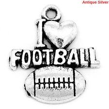 10 pcs. I LOVE FOOTBALL Heart Silver Metal Pendant Charms 20mm x 18mm. chs0237