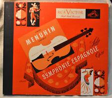 """Yehudi Menuhin Lalo Symphonie Espagnole Op 21 12"""" 78 Set NICE Classical Violin"""