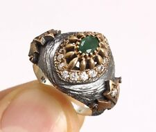 STERLING 925 SILVER HANDMADE JEWELRY EMERALD LADY RING SIZE 7