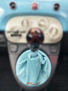 Soufflet Levier De Vitesse Pour Fiat 500 Abarth 07+ Baby Blue 500 Orange + Cadre