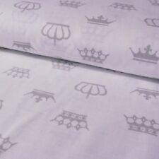 Baumwollstoff hellgrau Kronen auf weiss ab 50cm Länge, 160cm breit Prinzessin
