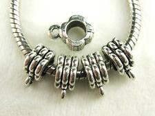 New Item! 30 pcs 3 Row Flower Tibetan Silver Bail Beads Spacers European Jewelry
