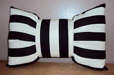New 18x12 Black and White Stripe Cotton Bow Tie Decorative Lumbar Pillow