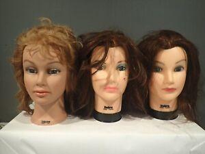 Lot of 3 Burmax Cosmetology Mannequin Heads 2 Debra 1 Sabrina
