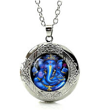 Silver Tone Glass Cabochon Lord Ganesh Ganesha Locket Pendant Necklace