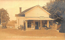 "Lime Lake NY ""Red Hots"" Delicatessen Popcorn Popper Metro Gas Pumps RP Postcard"