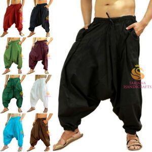US STOCK Men Women Cotton Pockets Harem Pants Gypsy Hippie Drop Crotch Trouser
