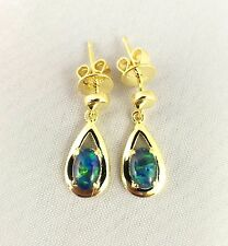 Tear Drop Style Triplet Opal Drop Dangle Earrings 18ct Gold Plated w Certificate