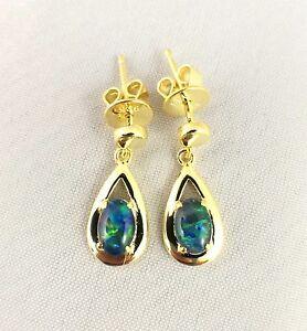 Tear Drop Style Triplet Opal Drop Dangle Earrings 18ct Gold Plated w Certificate
