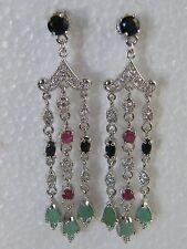 Silver Real Sapphire,Ruby & Emerald Set Deco Style Chandelier Drop Earrings