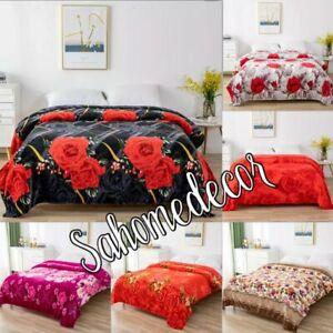 Soft Fleece Blanket Large Sofa Throw Soft Warm Faux Fur Floral Mink  Double+King