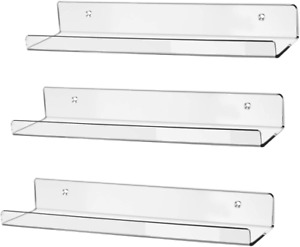 Clear Acrylic Floating Wall Ledge Shelf Wall Mounted Invisible Spice Rack 3 Sets