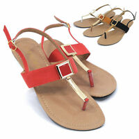 Womens T-Strap Slingback Sandals Gladiator Roman Thongs Flip Flops Flat Shoes