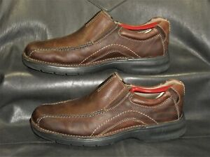 Clarks Pickett 82290 brown pebbled leather loafers Men's casual shoes size US 8M