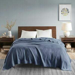 Luxury Rich Blue Egyptian Cotton Year Round Blanket - ALL SIZES
