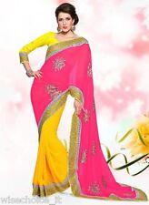 Neon Punch and sunshine yellow half and half saree resham embroidered decorative