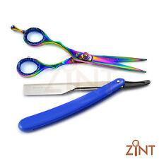 X2 Barber Saloon Hair Cutting Multi Scissor Blue Shaving Razor With Free Blades