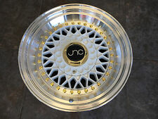 15x8 JNC004S RS NEW SLANT LIP Wheels 4x100/114.3 White Machined Lip GR Rims