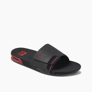 Reef Men's Fanning Slide Bottle Opener Sandals - Black/Red NWT