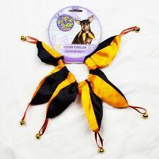 New Rubies Pet Shop Jester Collar Dog Costume Orange Black S/M Halloween