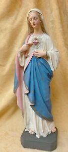 Herz Maria Figur Gips 55 cm um 1900 Heiligenfigur