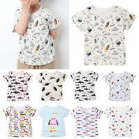 Kids Boys Toddler Cartoon Summer Casual Short Sleeve T-Shirt Tee Tops Blouse