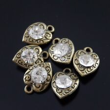 25X Antiqued Bronze Tone Pendants Alloy Heart With Rhinestone Findings 11*9*3mm