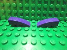 Lego 2 Dark Purple 3x1 curved smooth slopes brick block NEW