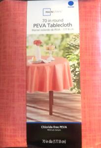 "Mainstays PEVA Vinyl Tablecloth 70"" Round Pink Summer Indoor Outdoor New"