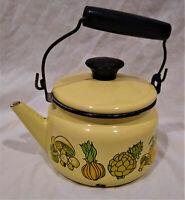 Cera-Met Vintage Enamelware Tea Pot/Kettle w. Lid--Yellow/Vegetables--1 Quart