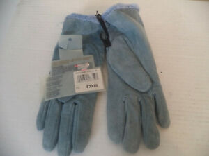 Women's Steel Blue Isotoner Hand Gloves. M. Leather/ Velours/ Suede. Lined