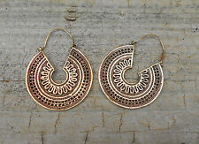 TRIBAL BRASS MANDALA EARRINGS, GYPSY, ETHNIC, PSY TRANCE, HIPPY BOHO, GOA