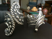 (2) Vintage Bypass Taxco Sterling Silver Hinge Clamper Cuff Bracelets