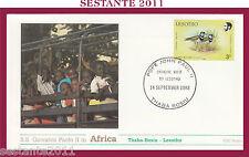 W48 VATICANO FDC ROMA VISITA GIOVANNI PAOLO II  AFRICA LESOTHO THABA BOSIU 1988