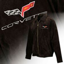 2005-2013 Corvette C6 Logo Men's Long Length BROWN Suede Bomber Jacket 604639