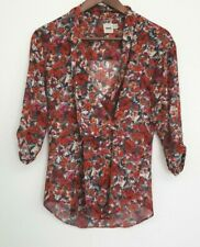 92297baafd2975 ASOS Sheer Floral Print Blouse Womens size 2 Button closure