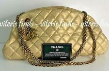 Authentic Chanel CC Just Mademoiselle Medium Gold Leather Chain Shoulder Bag