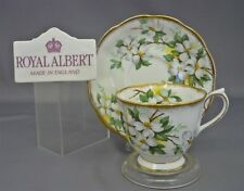 ROYAL ALBERT DOGWOOD Tea Cup & Saucer Bone China White Flower England Coffee