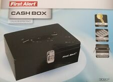 First Alert Cash Box 7 Compartment Tray Key Lock Carry Handle