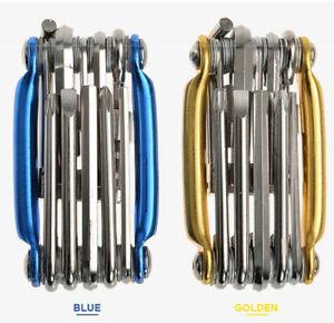 Bike 11in1 Multi Tool Chain Rivet Extractor Mini Pocket Repair Folding Tool Kit