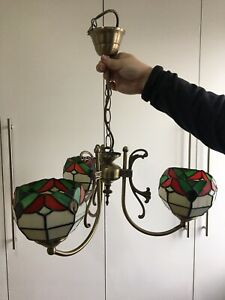 Stunning 3 Arm Glass Tiffany Ceiling Up lights Lamp Shade Chandelier Vintage