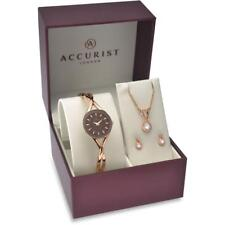 Accurist 8121G 3 Piece Rose Gold Tone Watch, Necklace & Earrings Set RRP £150