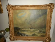 Large antique oil painting,{ Sailboat in a storm near the coast, is signed }.