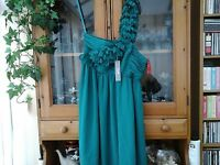 WOMENS SOUTH ONE SHOULDER JADE GREEN DRESS SIZE 12 (NEW)
